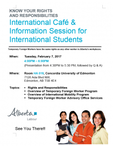 International Cafe and information session 20170207
