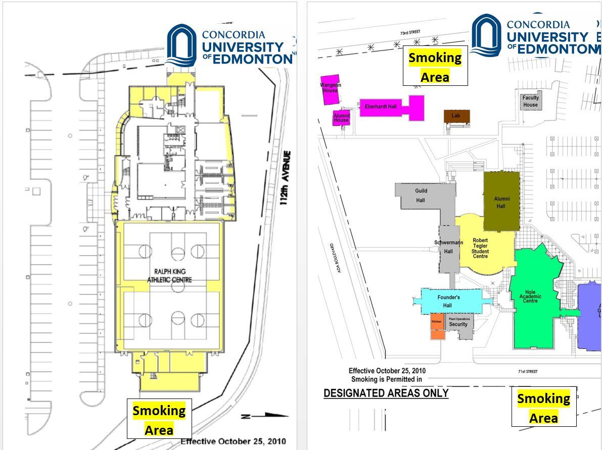 concordia university campus map Designated Smoking Areas Concordia University Of Edmonton concordia university campus map