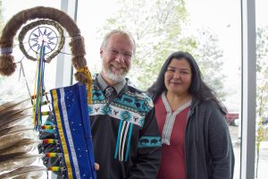 Indigenous Knowledge and Research Centre (IKRC) - Grand Opening - President Tim Loreman and Student Maxine Courtoreille-Paul