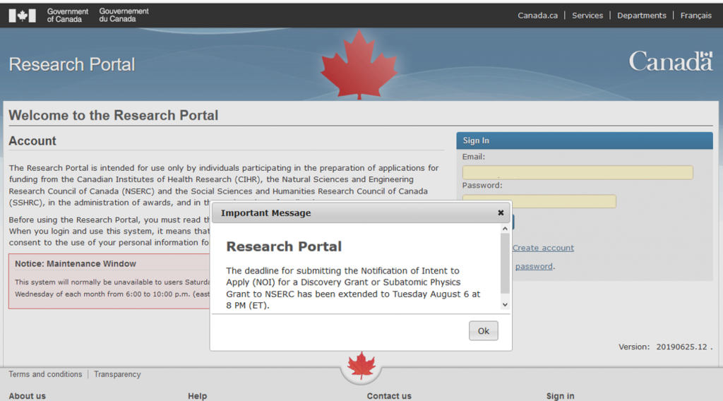 Deadline Extension - NOI submissions for NSERC Discovery Grants are