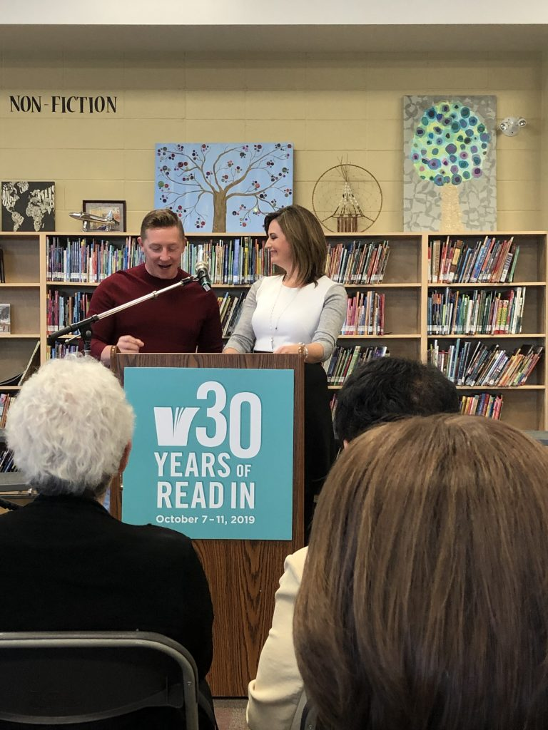 Josh Classen & Erin Isfeld, CTV Edmonton, emceed the official launch of Read In Week